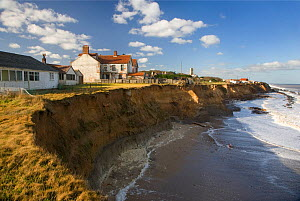 RF- Coastal erosion, crumbling sea cliffs, Happisburgh, Norfolk, UK. (This image may be licensed either as rights managed or royalty free.)  -  Ernie  Janes