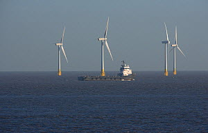 Wind turbines in offshore windfarm off Great Yarmouth, beach, Norfolk, UK - Ernie Janes