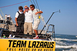 """Le Pingouin"" skippered by Brad Van Liew finishing first in sprint four of the Velux 5 Oceans race. Charleston, South Carolina, USA, April 2011. All non-editorial uses must be cleared individually.  -  Billy Black"