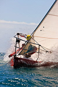 Bow work on board yacht during a race at the Grenada Sailing Festival, Caribbean, January 2010.  -  Onne van der Wal