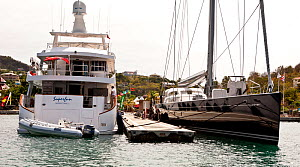 Superyachts moored in harbour during the Grenada Sailing Festival, Caribbean, January 2010.  -  Onne van der Wal