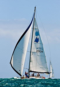 """Sail work on board """"Chao Lay"""" during the Grenada Sailing Festival, Caribbean, January 2010.  -  Onne van der Wal"""