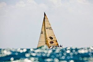 """Lancelot"" obscured by glistening wave during the Grenada Sailing Festival, Caribbean, January 2010. - Onne van der Wal"