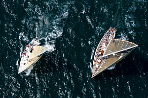 Aerial view of two yachts racing at the beginning of the Newport-Bermuda Race, Rhode Island, USA, June 2010. All non-editorial uses must be cleared individually.  -  Onne van der Wal