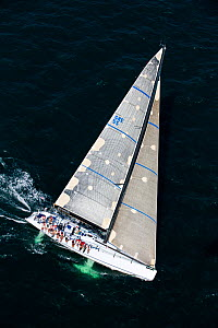 "Aerial view of crew hiking-out on board ""Sforzando"" at the beginning of the Newport-Bermuda Race, Rhode Island, USA, June 2010. All non-editorial uses must be cleared individually. - Onne van der Wal"