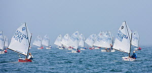 Panoramic view of fleet racing during the Optimist North Americans, Newport, Rhode Island, USA, August 2010. - Onne van der Wal