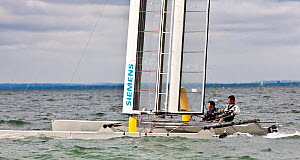 C-Class catamaran training for Little America's Cup. Newport, Rhode Island, USA, August 2010. All non-editorial uses must be cleared individually.  -  Onne van der Wal