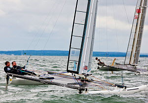 French and British C-Class catamarans racing in training for Little America's Cup. Newport, Rhode Island, USA, August 2010. All non-editorial uses must be cleared individually.  -  Onne van der Wal