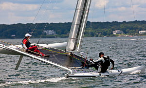 C-Class catamaran in training for Little America's Cup. Newport, Rhode Island, USA, August 2010. All non-editorial uses must be cleared individually.  -  Onne van der Wal