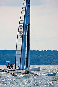 British C-Class catamaran team in training for Little America's Cup. Newport, Rhode Island, USA, August 2010. All non-editorial uses must be cleared individually.  -  Onne van der Wal