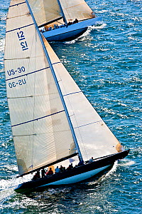 Aerial view of two yachts racing during the 12 Metre North American Championships. Newport, Rhode Island, USA, September 2010.. All non-editorial uses must be cleared individually.  -  Onne van der Wal