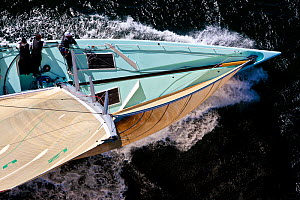 Aerial view of yacht during the 12 Metre North American Championships. Newport, Rhode Island, USA, September 2010. All non-editorial uses must be cleared individually.  -  Onne van der Wal