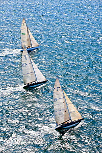 Aerial view of three yachts racing in the 12 Metre North American Championships. Newport, Rhode Island, USA, September 2010. All non-editorial uses must be cleared individually.  -  Onne van der Wal