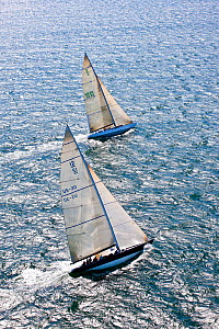 Aerial view of two yachts racing in the 12 Metre North American Championships. Newport, Rhode Island, USA, September 2010. All non-editorial uses must be cleared individually.  -  Onne van der Wal