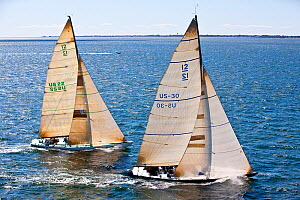 Two yachts racing in the 12 Metre North American Championships. Newport, Rhode Island, USA, September 2010. All non-editorial uses must be cleared individually.  -  Onne van der Wal