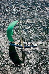 Aerial view of yacht under spinnaker during the 12 Metre North American Championships. Newport, Rhode Island, USA, September 2010. All non-editorial uses must be cleared individually.  -  Onne van der Wal