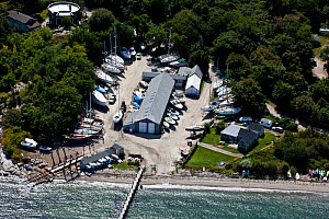 Aerial view of Clark�s Boat Yard in Jamestown, Rhode Island, USA, September 2010.  -  Onne van der Wal