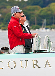 """Ted Turner at the helm of """"Courageous"""" during America's Cup Legends reunion. Newport, Rhode Island, USA, September 2010. All non-editorial uses must be cleared individually.  -  Onne van der Wal"""