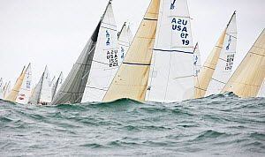 Fleet obscured by wave during racing in the J80 World Championships, Newport, Rhode Island, USA, October 2010. - Onne van der Wal