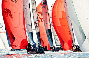 Fleet racing under spinnaker during the RC44 Circuit in Miami. Florida, USA, December 2010. All non-editorial uses must be cleared individually. - Onne van der Wal