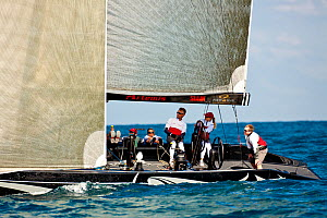 Crew on board yacht during a race in the RC44 Circuit in Miami. Florida, USA, December 2010. All non-editorial uses must be cleared individually.  -  Onne van der Wal