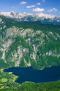 Overview of the north end of Lake Bohinj from 1535m at the top of the Vogel cable car lift, with 2864m Mount Triglav, the highest peak in the Julian Alps, in the background, Triglav National Park, Slo... - Nick Upton