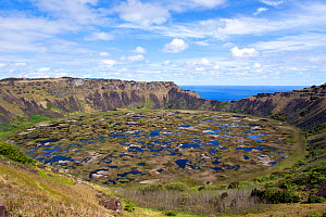 The crater lake of the extinct volcano Rano Kau on the southwestern part of Easter Island. South Pacific, October 2009.  -  Brent Stephenson