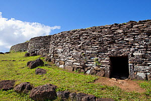 Restored houses at the stone village at Orongo. Easter Island, October 2009.  -  Brent Stephenson