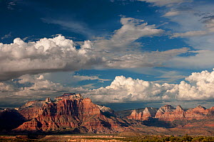 "Thunderstorms and clouds form over ""West Temple"" and ""Zion"" geological formations. Utah, USA, July.  -  David Welling"