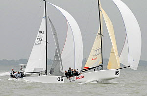 """Brick House 623"" and ""Audi"" racing on day four of the Melges 24 World Championships. Corpus Christi, Texas, USA, May 2011. - Rick Tomlinson"