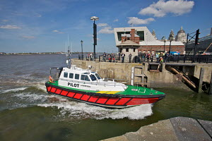 "New pilot boat ""The Skua"" entering Albert Dock for naming ceremony. River Mersey, Liverpool, England, May 2011. - Graham Brazendale"