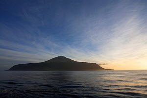 Tristan da Cunha on the horizon is dusky light. South Atlantic Islands, March 2007. - Troels Jacobsen/Arcticphoto