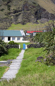 Houses in Edinburgh of the Seven Seas, the main settlement on Tristan da Cunha. South Atlantic Islands, March 2007. - Troels Jacobsen/Arcticphoto