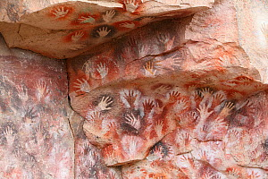 Cave hand paintings, dated to around 550 BC. Cueva de las Manos, Argentina, March 2010.  -  Mark Taylor