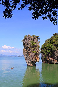 Ko Tapu limestone pinnacle islet. Phang Nga Bay, Thailand, December 2010.  -  Mark Taylor