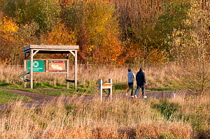 Walkers passing information shelter in Sence Valley Forest Park, the site of a former colliery, New plantation, autumn, Leicestershire, UK. November 2010.  -  Ross Hoddinott / 2020VISION