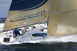 """Skipper Michel Bothuon on board """"Les Recycleurs Bretons"""" ahead of La Solitaire du Figaro 2011. Brest, France, May 2011. All non-editorial uses must be cleared individually.  -  Benoit Stichelbaut"""