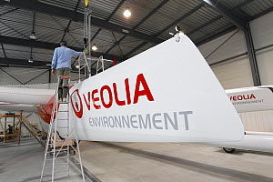 "MOD70 trimaran ""Veolia Environnement"" being prepared for launch. Lorient, France, June 2011. All non-editorial uses must be cleared individually.  -  Benoit Stichelbaut"