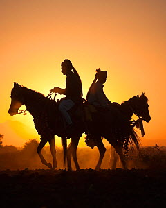 Silhouette of two traditionally dressed Indian riders, mounted on Kathiawari mares, backlit at sunset, in Gujarat, India, January 2011, Model released  -  Kristel Richard