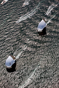 """Aerial view of """"Ranger"""" leading """"Velsheda"""" during a race in the J Class Regatta, Newport, Rhode Island, USA, June 2011. All non-editorial uses must be cleared individually.  -  Billy Black"""
