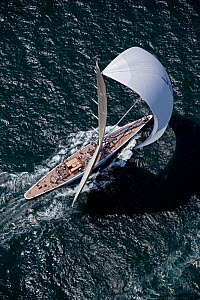 Aerial view of J-class replica ^Ranger^ under spinnaker during the J Class Regatta, Newport, Rhode Island, USA, June 2011. All non-editorial uses must be cleared individually.  -  Billy Black