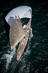 "Aerial view of J-class replica ""Ranger"" under spinnaker during the J Class Regatta, Newport, Rhode Island, USA, June 2011. All non-editorial uses must be cleared individually.  -  Billy Black"