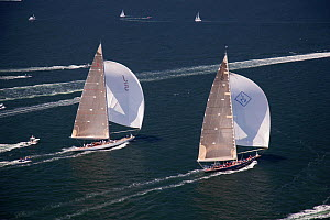 "Aerial view of J-class yachts ""Ranger"" and ""Velsheda"" racing under spinnaker during the J Class Regatta, Newport, Rhode Island, USA, June 2011. All non-editorial uses must be cleared individually.  -  Billy Black"