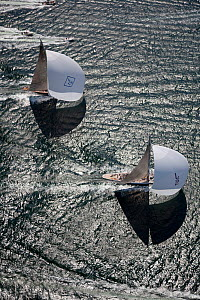 "Aerial view of J-class yachts ""Ranger"" and ""Velsheda"" at speed during the J Class Regatta, Newport, Rhode Island, USA, June 2011. All non-editorial uses must be cleared individually. - Billy Black"