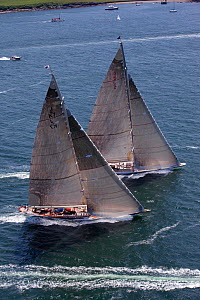 Aerial view of J-class yachts ^Ranger^ and ^Velsheda^ racing in the J Class Regatta, Newport, Rhode Island, USA, June 2011. All non-editorial uses must be cleared individually.  -  Billy Black
