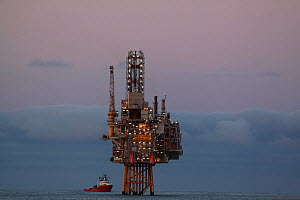 """Oseberg Ost"" production platform at dusk, North Sea, June 2011. - Philip Stephen"