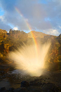 Nakalele Point Blowhole with spray and a resulting rainbow. West Maui, Hawaii, September 2010. - Jeff Vanuga