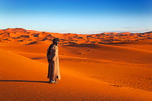 A person looking out onto the Erg Chebbi Dunes. Sahara Desert, Morocco, North Africa, March 2011. - Ernie Janes