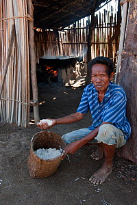 Timorese man with salt for sale, made by boiling brine in open pan for 8hrs over fire of palm fronds, East Timor, August 2010.  -  Jurgen Freund