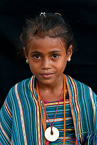 Portrait of East Timorese girl in traditional clothing, Maubara, East Timor, August 2010  -  Jurgen Freund